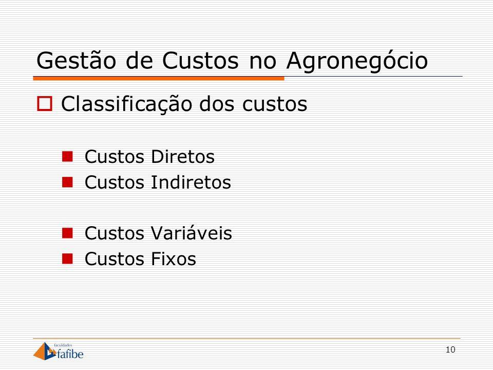 10 Gestão de Custos no Agronegócio Classificação dos custos Custos Diretos Custos Indiretos Custos Variáveis Custos Fixos