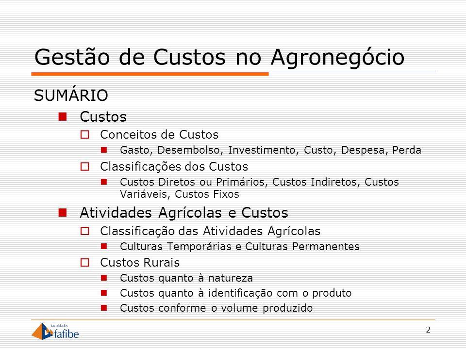 3 Gestão de Custos no Agronegócio Custos Conceitos e Classificações