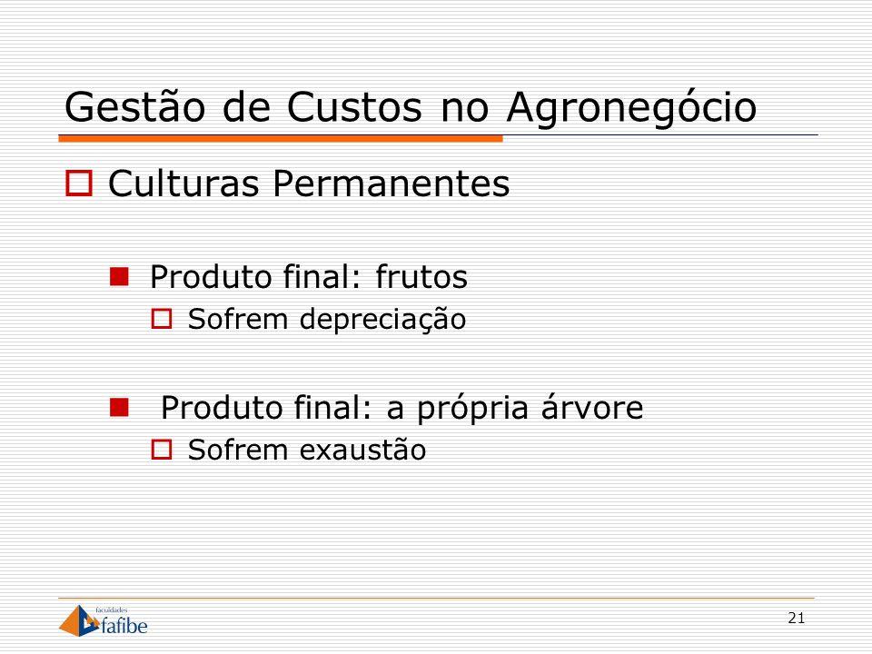 21 Gestão de Custos no Agronegócio Culturas Permanentes Produto final: frutos Sofrem depreciação Produto final: a própria árvore Sofrem exaustão