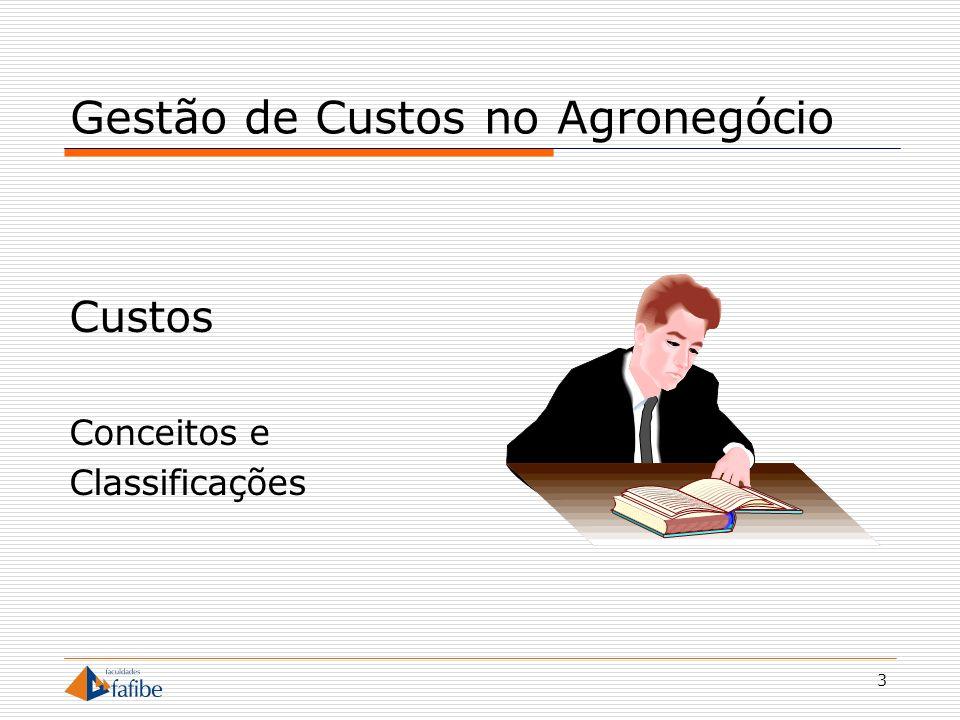 14 Gestão de Custos no Agronegócio Custos Variáveis Variam conforme a produção Dependente do volume Custos Fixos Não variam conforme a produção Independente do volume