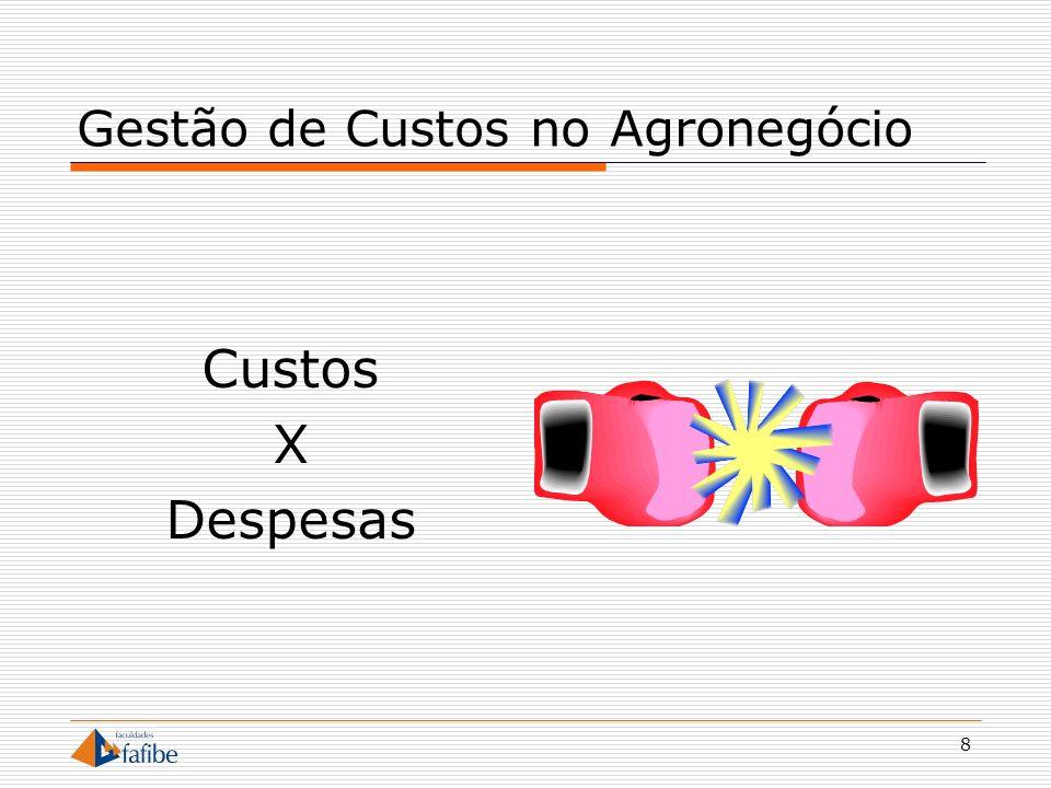9 Gestão de Custos no Agronegócio Custos Gastos relativos à produção Despesas Gastos auxiliares Não estão envolvidos com a produção