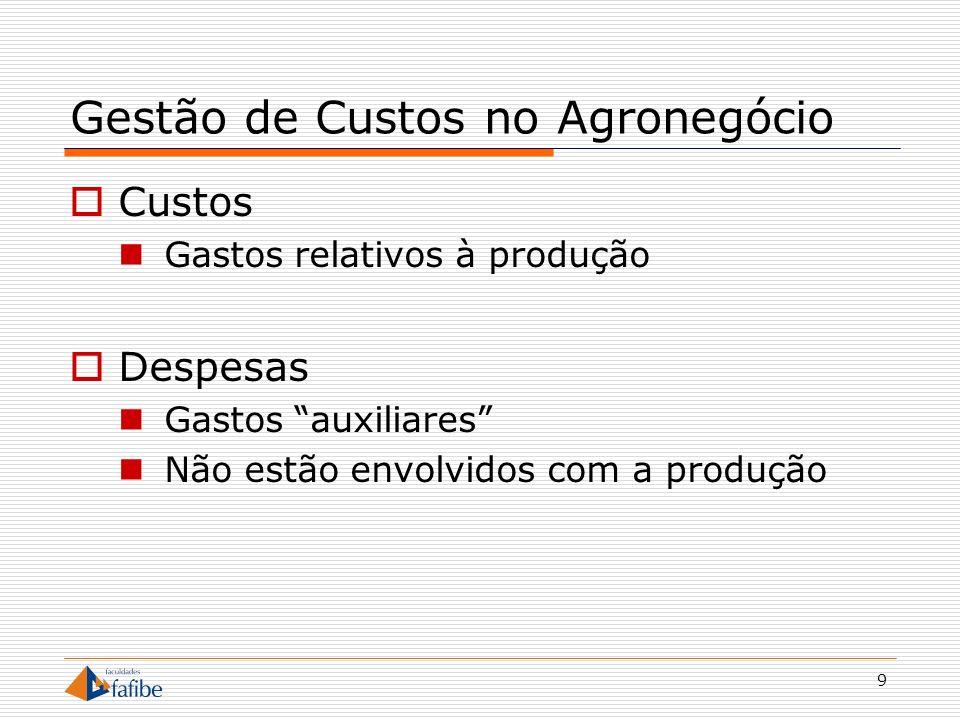 20 Gestão de Custos no Agronegócio Culturas Permanentes (perenes) Não sujeitas ao replantio após cada colheita Café, limão, pêra, maça, laranja, cana- de-acúcar
