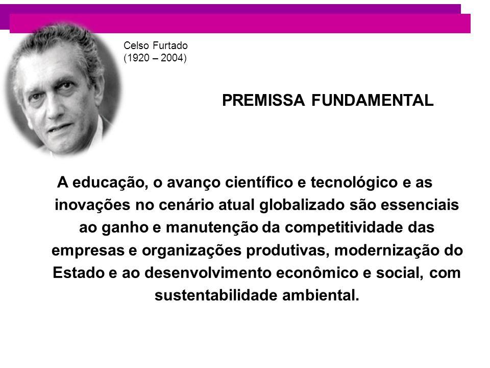 PREMISSA FUNDAMENTAL A educação, o avanço científico e tecnológico e as inovações no cenário atual globalizado são essenciais ao ganho e manutenção da
