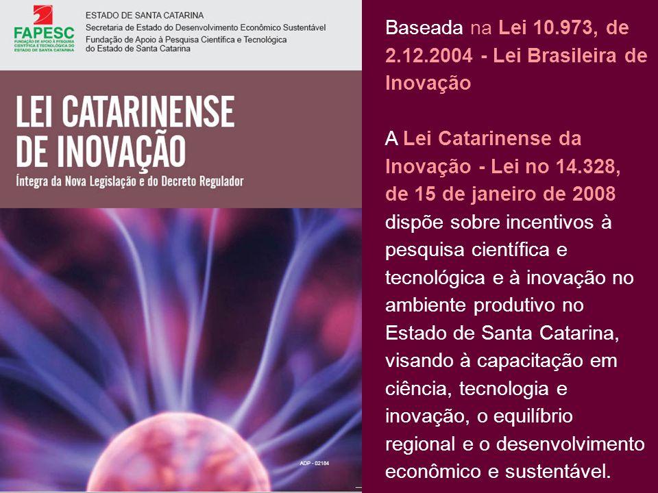 Baseada na Lei 10.973, de 2.12.2004 - Lei Brasileira de Inovação A Lei Catarinense da Inovação - Lei no 14.328, de 15 de janeiro de 2008 dispõe sobre