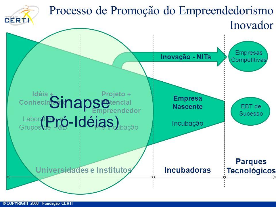 Inovação - NITs Processo de Promoção do Empreendedorismo Inovador EBT de Sucesso Idéia + Conhecimento Laboratório e Grupos de P&D Projeto + Potencial
