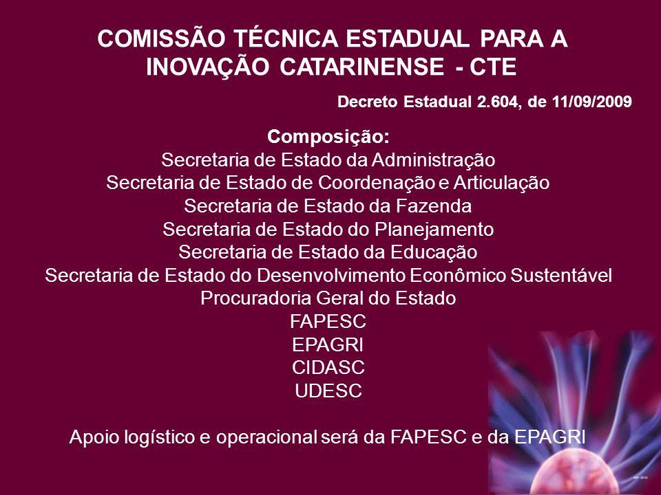 COMISSÃO TÉCNICA ESTADUAL PARA A INOVAÇÃO CATARINENSE - CTE Composição: Secretaria de Estado da Administração Secretaria de Estado de Coordenação e Ar