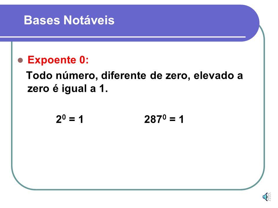 Bases Notáveis Expoente 1: Todo número elevado a unidade é igual a ele mesmo. 2 1 = 2 15 1 = 15