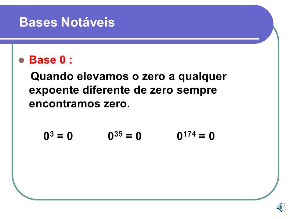 Base 1 : Quando elevamos a unidade a qualquer expoente, sempre encontramos como resultado a própria unidade. 1 4 = 1 1 53 = 1 1 223 = 1