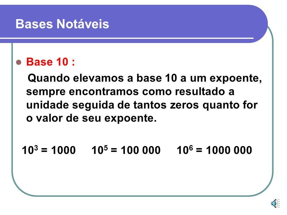 Base 0 : Quando elevamos o zero a qualquer expoente diferente de zero sempre encontramos zero. 0 3 = 0 0 35 = 0 0 174 = 0