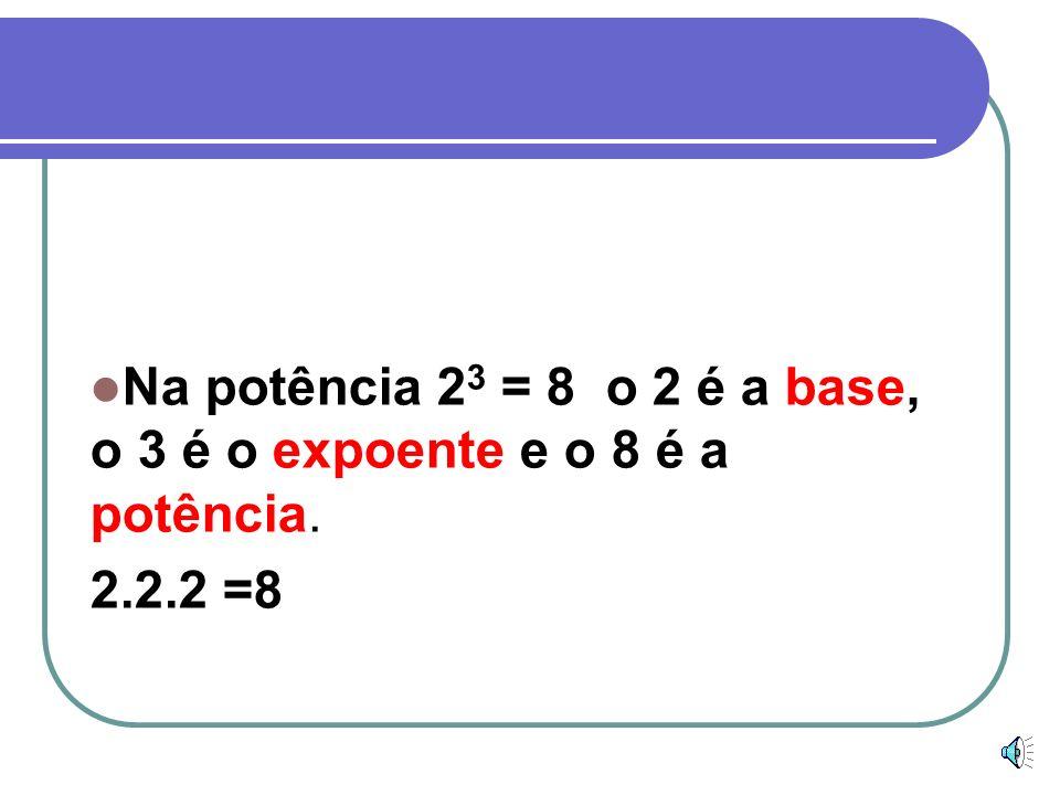 Exemplos Na potência 3 4 = 81 o 3 é a base, o 4 é o expoente e o 81 é a potência. 3.3.3.3 = 81