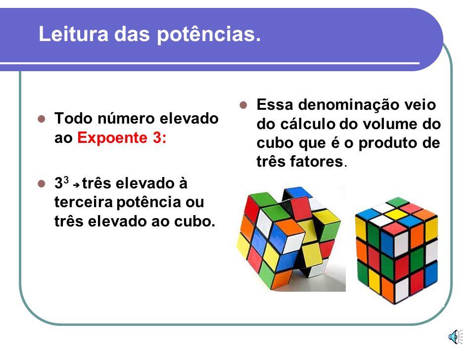 Todo número elevado ao Expoente 3: 3 3 três elevado à terceira potência ou três elevado ao cubo.