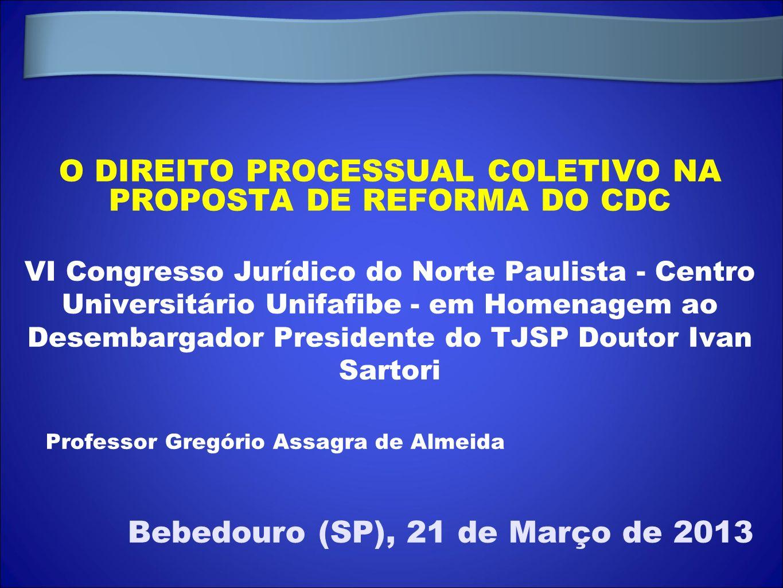 O DIREITO PROCESSUAL COLETIVO NA PROPOSTA DE REFORMA DO CDC VI Congresso Jurídico do Norte Paulista - Centro Universitário Unifafibe - em Homenagem ao