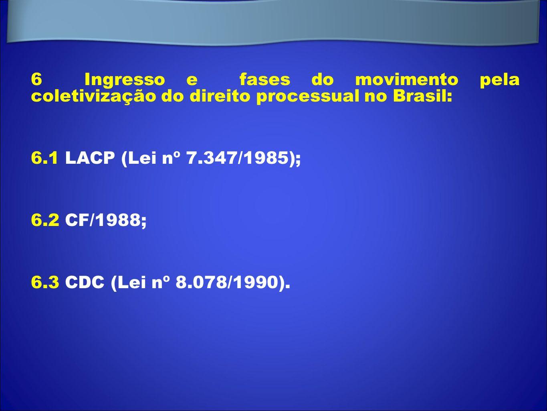 6 Ingresso e fases do movimento pela coletivização do direito processual no Brasil: 6.1 LACP (Lei nº 7.347/1985); 6.2 CF/1988; 6.3 CDC (Lei nº 8.078/1