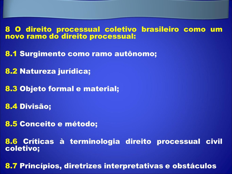 8 O direito processual coletivo brasileiro como um novo ramo do direito processual: 8.1 Surgimento como ramo autônomo; 8.2 Natureza jurídica; 8.3 Obje