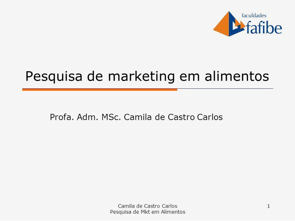 1 Pesquisa de marketing em alimentos Profa. Adm. MSc. Camila de Castro Carlos Camila de Castro Carlos Pesquisa de Mkt em Alimentos
