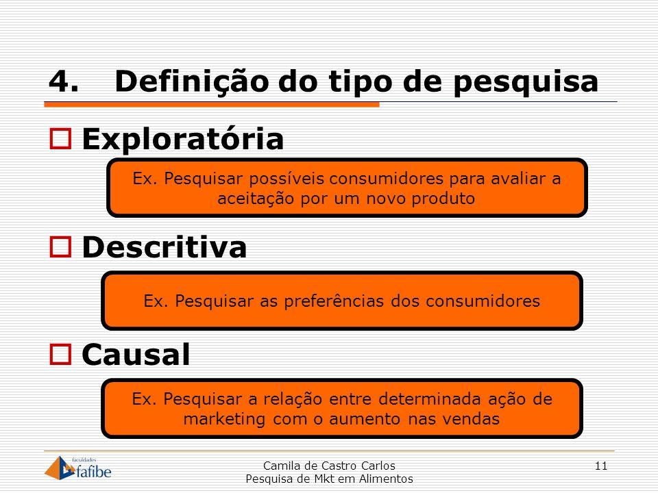 4.Definição do tipo de pesquisa Exploratória Descritiva Causal Camila de Castro Carlos Pesquisa de Mkt em Alimentos 11 Ex. Pesquisar possíveis consumi
