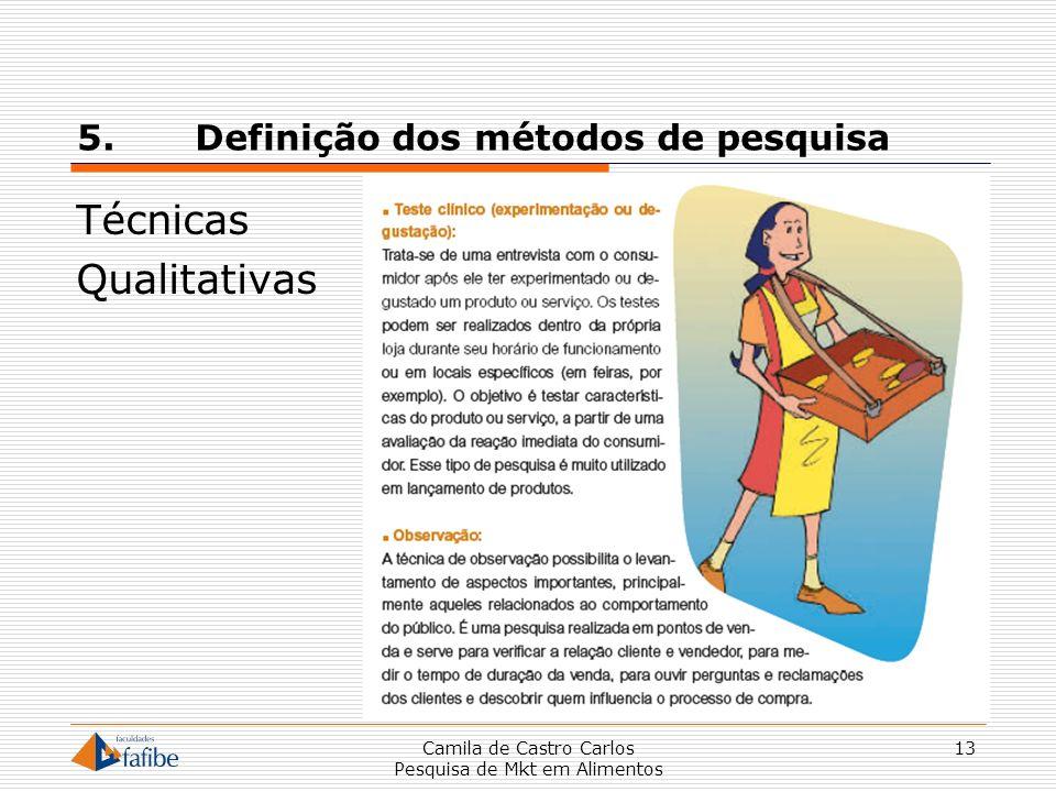 5. Definição dos métodos de pesquisa Técnicas Qualitativas Camila de Castro Carlos Pesquisa de Mkt em Alimentos 13