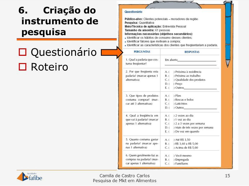 6.Criação do instrumento de pesquisa Questionário Roteiro Camila de Castro Carlos Pesquisa de Mkt em Alimentos 15