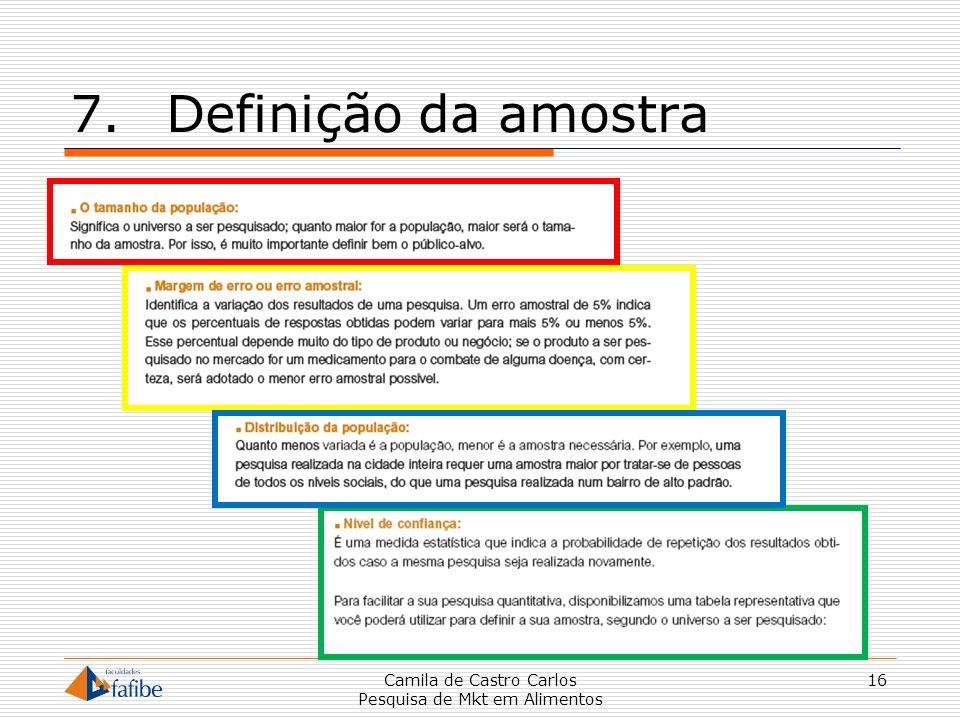 7.Definição da amostra Camila de Castro Carlos Pesquisa de Mkt em Alimentos 16