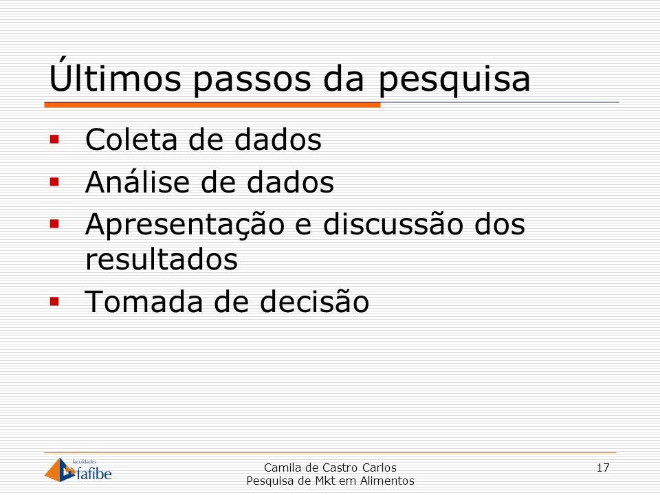 Últimos passos da pesquisa Coleta de dados Análise de dados Apresentação e discussão dos resultados Tomada de decisão Camila de Castro Carlos Pesquisa