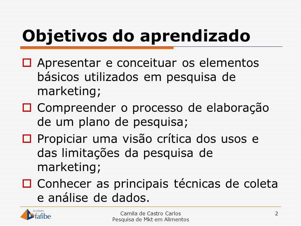 2 Objetivos do aprendizado Apresentar e conceituar os elementos básicos utilizados em pesquisa de marketing; Compreender o processo de elaboração de u