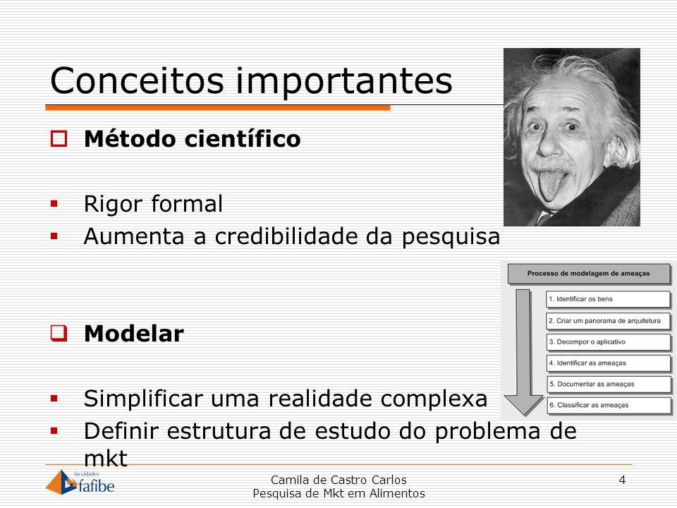 Conceitos importantes Método científico Rigor formal Aumenta a credibilidade da pesquisa Modelar Simplificar uma realidade complexa Definir estrutura