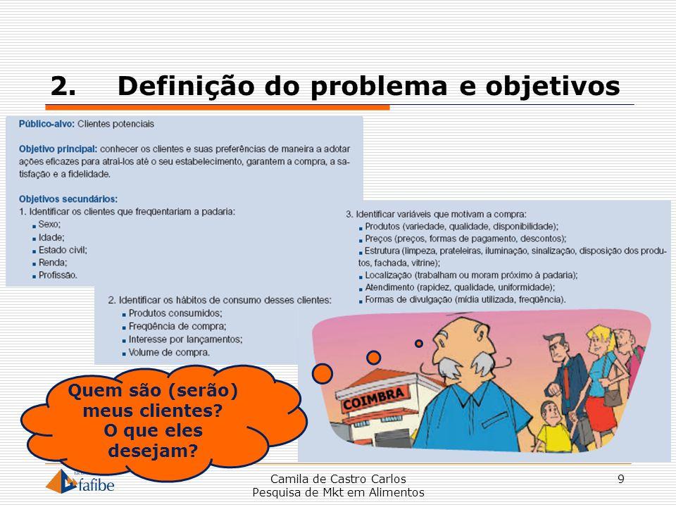 2.Definição do problema e objetivos Camila de Castro Carlos Pesquisa de Mkt em Alimentos 9 Quem são (serão) meus clientes? O que eles desejam?