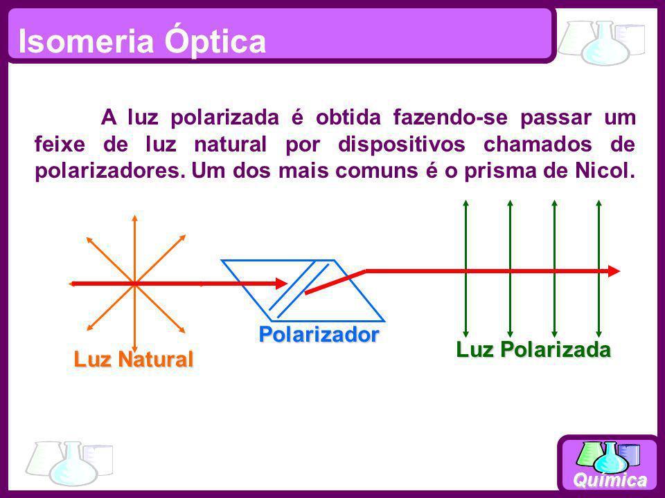 Química Isomeria Óptica Luz Natural Polarizador Luz Polarizada A luz polarizada é obtida fazendo-se passar um feixe de luz natural por dispositivos ch