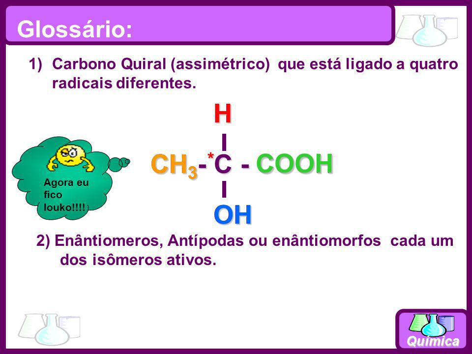 Química Glossário: 1)Carbono Quiral (assimétrico) que está ligado a quatro radicais diferentes. 2) Enântiomeros, Antípodas ou enântiomorfos cada um do