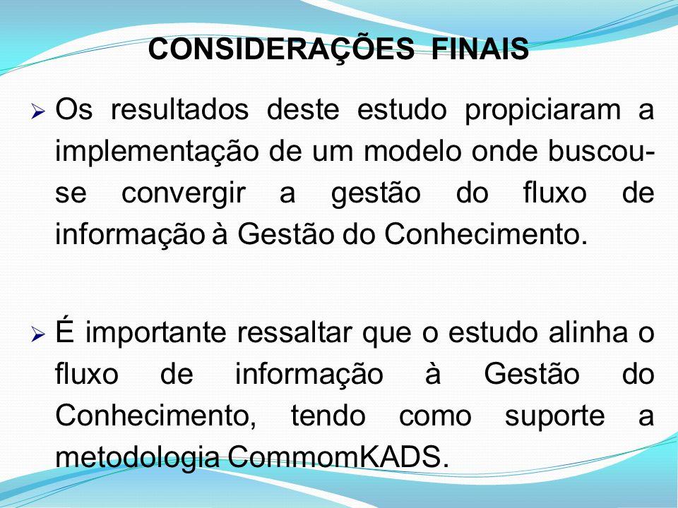 CONSIDERAÇÕES FINAIS Os resultados deste estudo propiciaram a implementação de um modelo onde buscou- se convergir a gestão do fluxo de informação à G