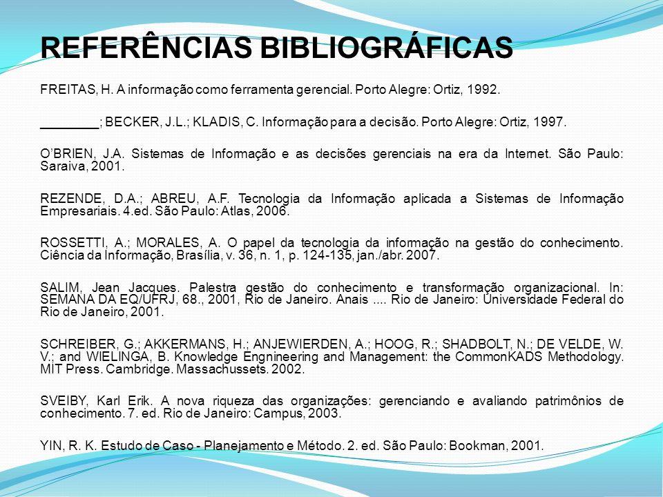 REFERÊNCIAS BIBLIOGRÁFICAS FREITAS, H. A informação como ferramenta gerencial. Porto Alegre: Ortiz, 1992. ________; BECKER, J.L.; KLADIS, C. Informaçã