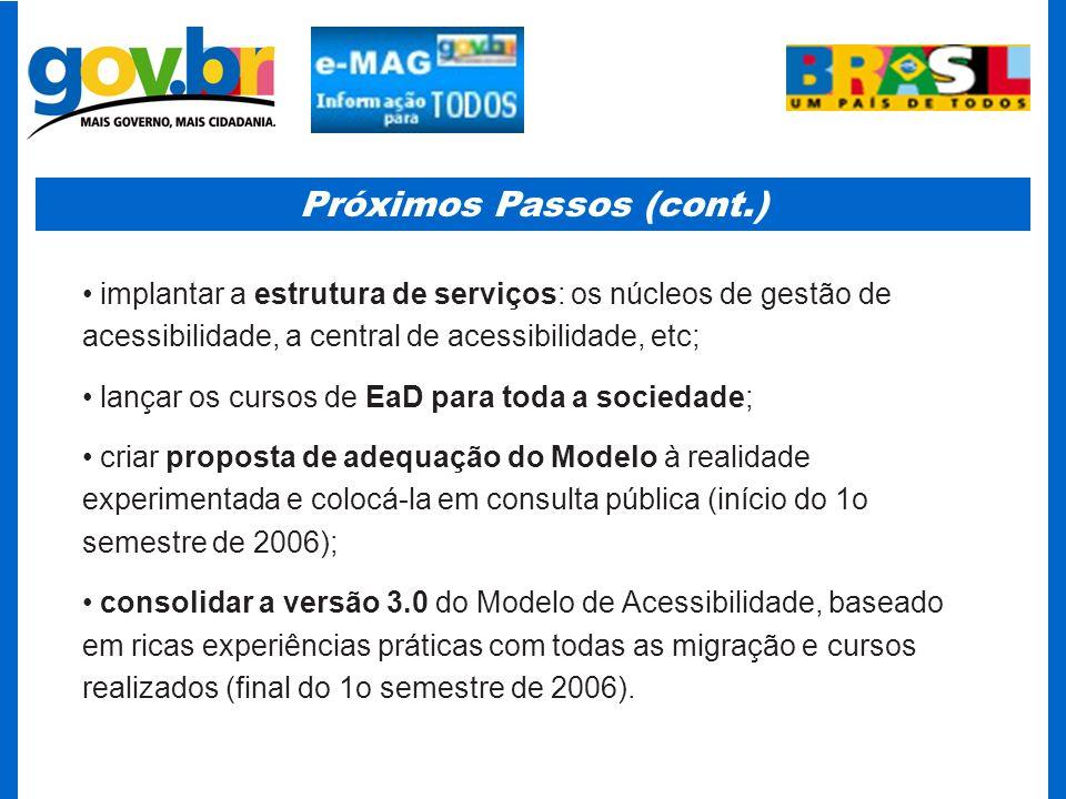 Próximos Passos (cont.) implantar a estrutura de serviços: os núcleos de gestão de acessibilidade, a central de acessibilidade, etc; lançar os cursos