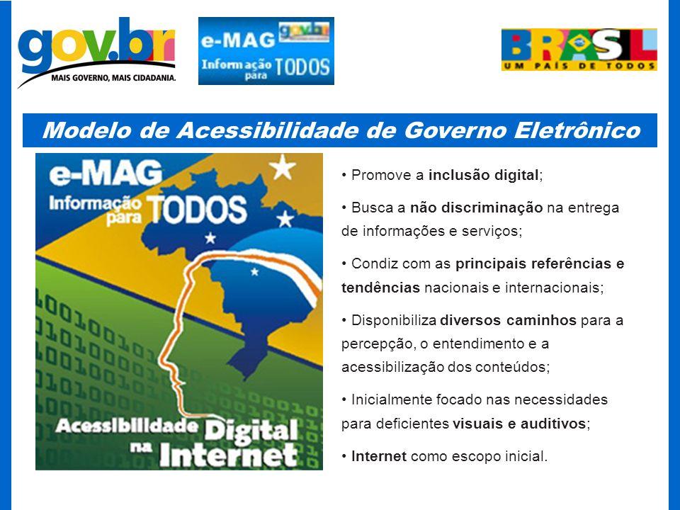 Modelo de Acessibilidade de Governo Eletrônico Partiu da necessidade de melhoria e democratização na entrega dos conteúdos (informações, serviços, etc) do Governo Federal; Instrumentaliza o decreto 5.296, de 2 de dezembro de 2004; Baseou-se principalmente nas iniciativas do W3C (WCAG1.0 e WCAG2.0) e do e- Europe 2002, nos trabalhos do comitê CB-40 (da ABNT), da Rede SACI (da USP) e da ONG Acessibilidade Brasil; Adapta as recomendações às necessidades e características brasileiras; Possibilita uma visão diferenciada do domínio do problema, oferecendo alternativas especializadas para a segmentação e interpretação das Recomendações de Acessibilidade de Governo Eletrônico;