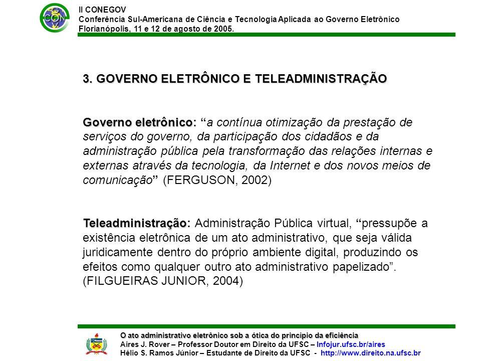 II CONEGOV Conferência Sul-Americana de Ciência e Tecnologia Aplicada ao Governo Eletrônico Florianópolis, 11 e 12 de agosto de 2005. O ato administra