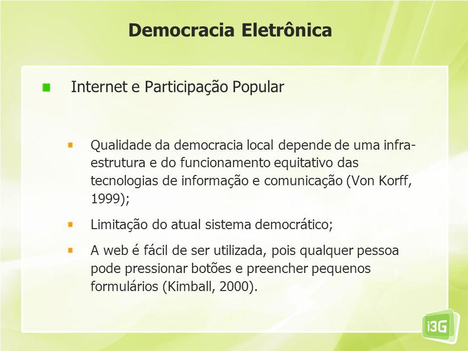 Democracia Eletrônica Internet e Participação Popular Qualidade da democracia local depende de uma infra- estrutura e do funcionamento equitativo das