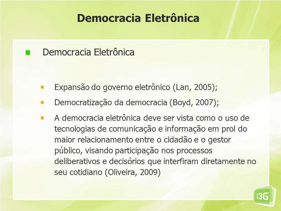 Democracia Eletrônica Expansão do governo eletrônico (Lan, 2005); Democratização da democracia (Boyd, 2007); A democracia eletrônica deve ser vista co
