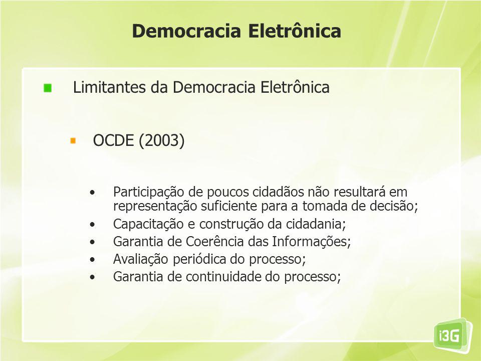 Democracia Eletrônica Limitantes da Democracia Eletrônica OCDE (2003) Participação de poucos cidadãos não resultará em representação suficiente para a