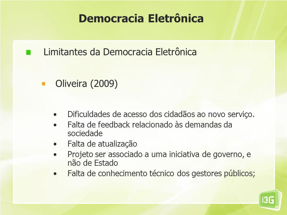 Democracia Eletrônica Limitantes da Democracia Eletrônica Oliveira (2009) Dificuldades de acesso dos cidadãos ao novo serviço. Falta de feedback relac