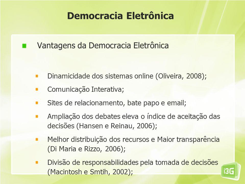 Democracia Eletrônica Vantagens da Democracia Eletrônica Dinamicidade dos sistemas online (Oliveira, 2008); Comunicação Interativa; Sites de relaciona