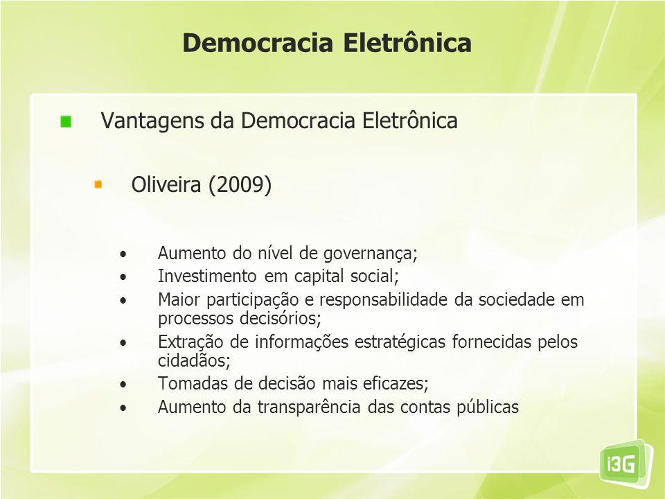 Democracia Eletrônica Vantagens da Democracia Eletrônica Oliveira (2009) Aumento do nível de governança; Investimento em capital social; Maior partici