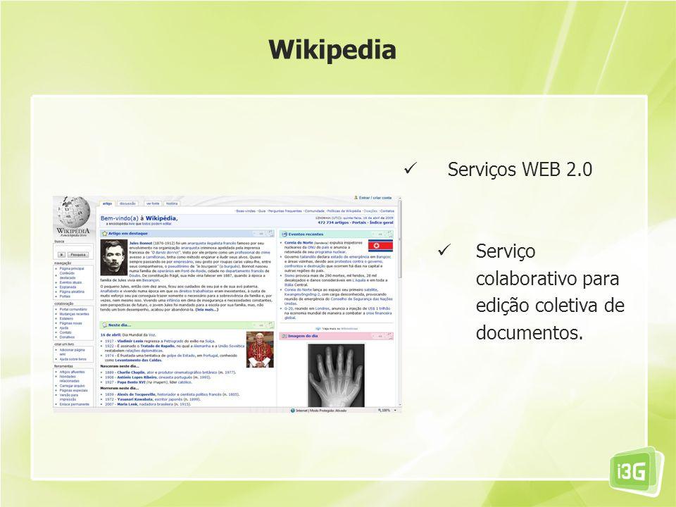 Serviços WEB 2.0 Serviço colaborativo para edição coletiva de documentos. Wikipedia