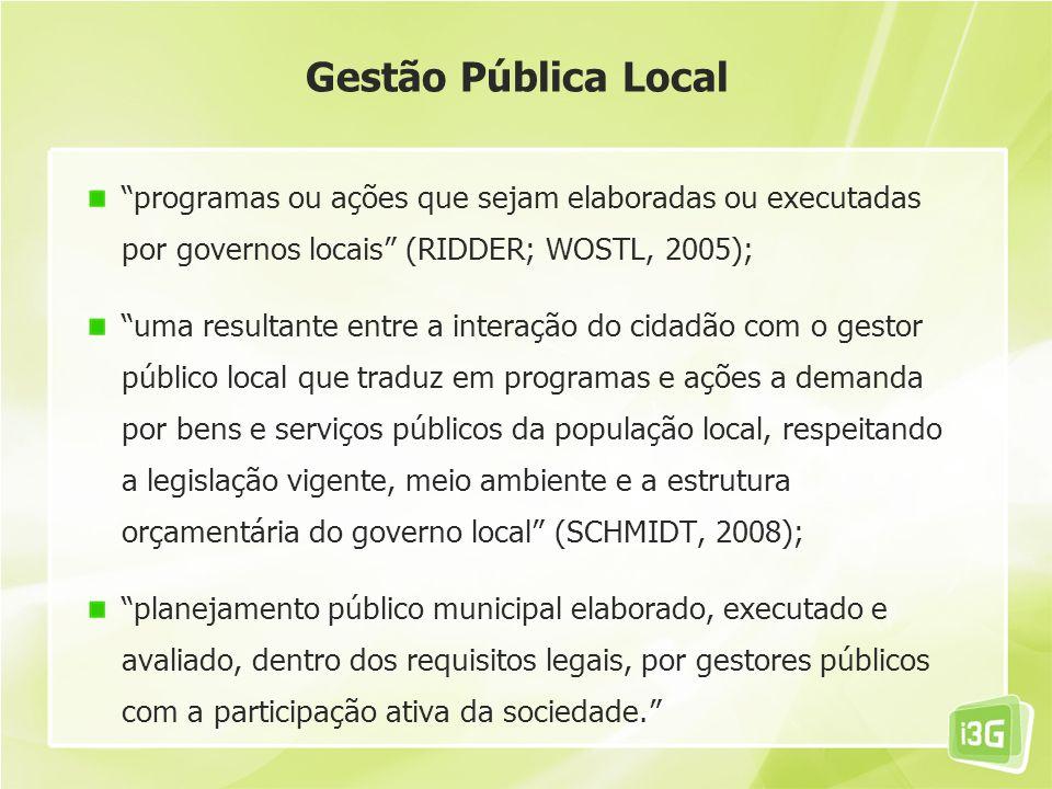 Gestão Pública Local programas ou ações que sejam elaboradas ou executadas por governos locais (RIDDER; WOSTL, 2005); uma resultante entre a interação