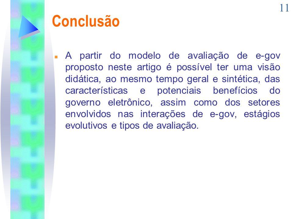 11 Conclusão n A partir do modelo de avaliação de e-gov proposto neste artigo é possível ter uma visão didática, ao mesmo tempo geral e sintética, das