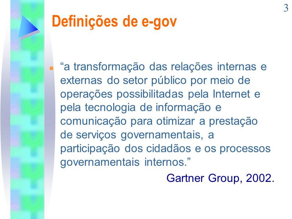 3 Definições de e-gov n a transformação das relações internas e externas do setor público por meio de operações possibilitadas pela Internet e pela te