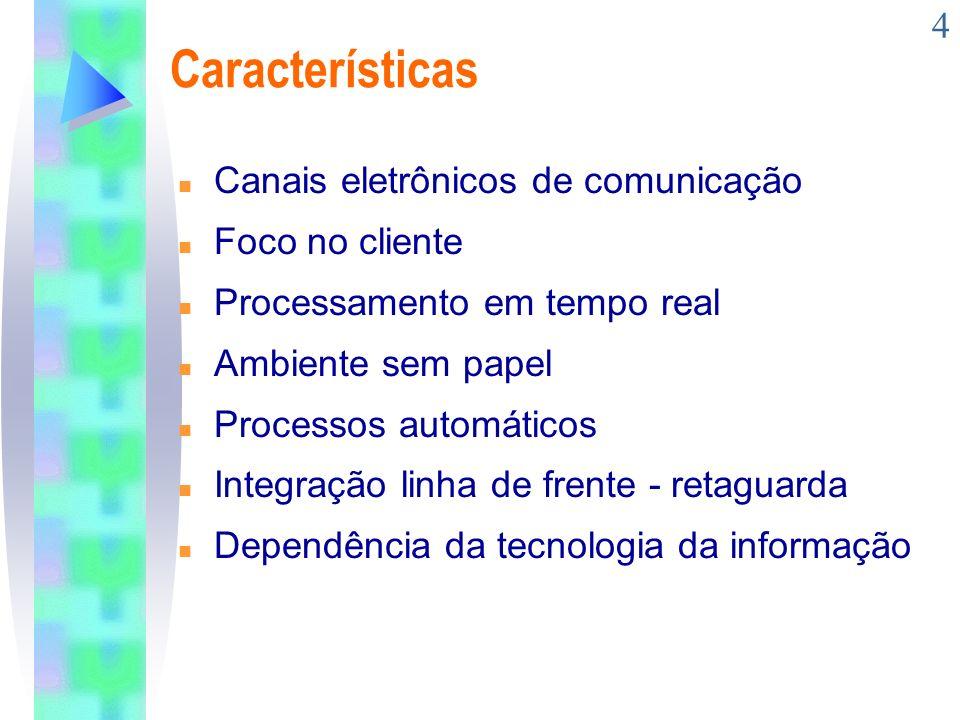 4 Características n Canais eletrônicos de comunicação n Foco no cliente n Processamento em tempo real n Ambiente sem papel n Processos automáticos n I