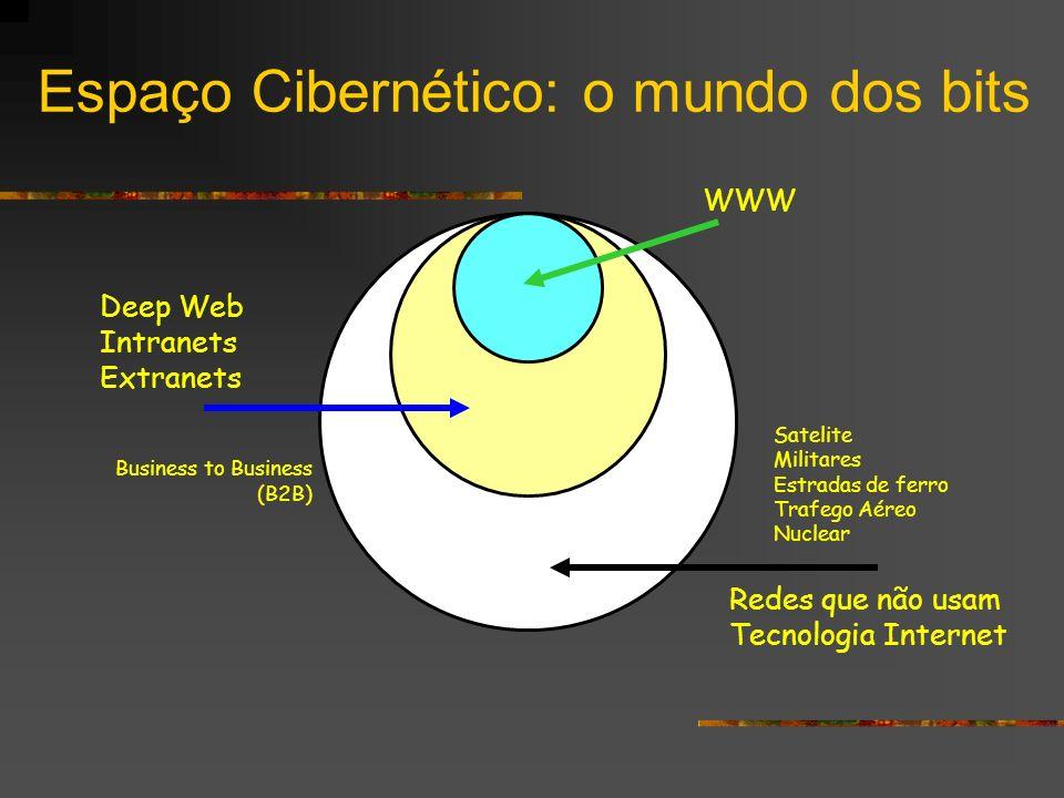 Espaço Cibernético: o mundo dos bits WWW Deep Web Intranets Extranets Redes que não usam Tecnologia Internet Business to Business (B2B) Satelite Milit