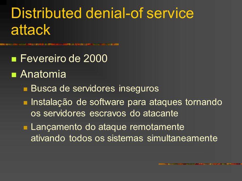 Distributed denial-of service attack Fevereiro de 2000 Anatomia Busca de servidores inseguros Instalação de software para ataques tornando os servidor