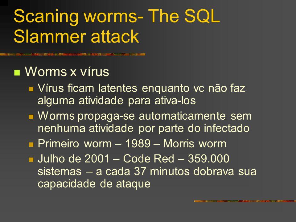 Scaning worms- The SQL Slammer attack Worms x vírus Vírus ficam latentes enquanto vc não faz alguma atividade para ativa-los Worms propaga-se automati