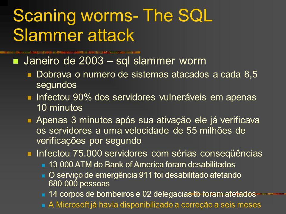 Scaning worms- The SQL Slammer attack Janeiro de 2003 – sql slammer worm Dobrava o numero de sistemas atacados a cada 8,5 segundos Infectou 90% dos se