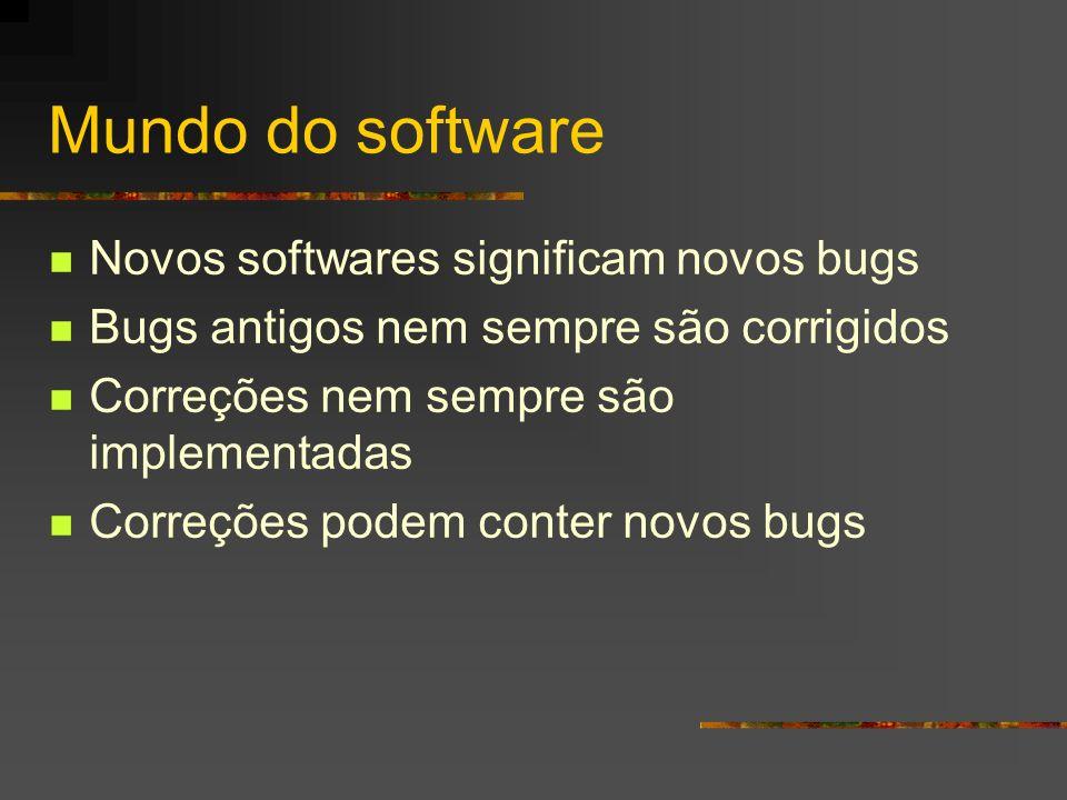 Mundo do software Novos softwares significam novos bugs Bugs antigos nem sempre são corrigidos Correções nem sempre são implementadas Correções podem